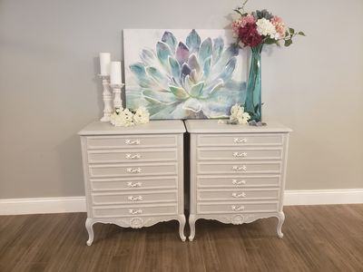 Beautiful and Elegant Night Stands  French Provincial- Light Gray and White  Dimensions: 27 wide 20