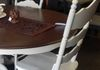 Old White Farmhouse Table & Chairs with Walnut Gel Stained Top