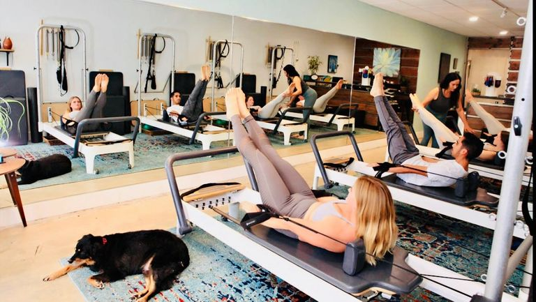 Pilates Reformer class.  All classes limited to 4 clients to ensure personal attention.