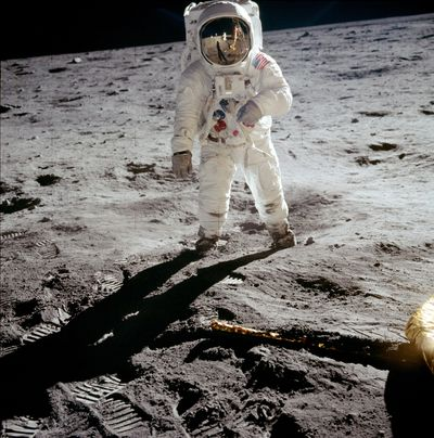 Astronaut Buzz Aldrin walks on the surface of the moon.  Photo courtesy of NASA