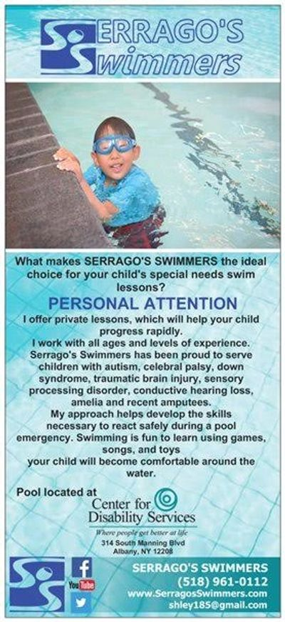 Swim Lesson Rack Card Special Needs Swimming Child in swim Pool during swim lesson in Albany