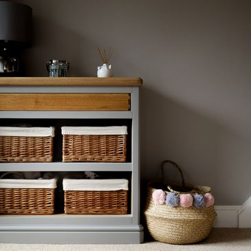 Hallway Cabinet with Box Jointed Drawers and wicker basket storage. Grey and Oak.