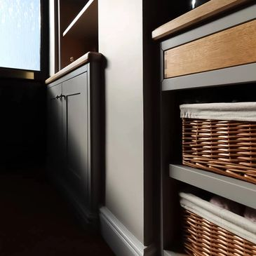 Hallway Cabinet with Oak Drawer and wicker baskets. Carpenter, Joiner in Burton on Trent.