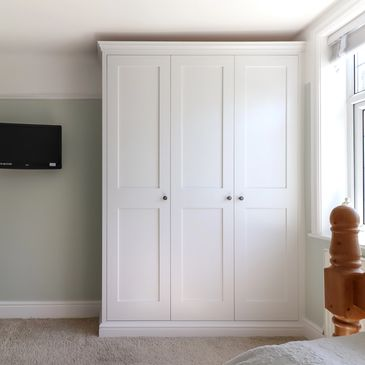 Alcove Shaker Wardrobes. Fitted by TW Bespoke in Burton on Trent.
