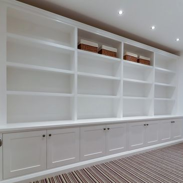 Fitted Bookcase/ Storage unit. Handmade by TW Bespoke in Burton on Trent, Staffordshire.