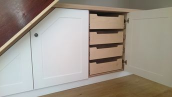 Under Stairs Cupboards with internal Birch Ply Drawers. Handmade by TW Bespoke in Burton on Trent.