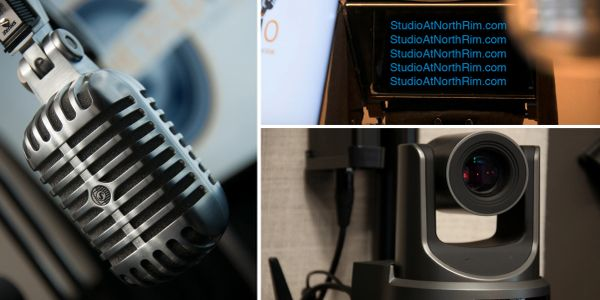 Images of a Shure microphone, a HD camera, and a teleprompter with StudioatNorthRim.com on screen.
