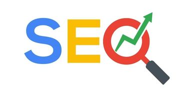 """SEO"" with the O shown as a magnifying glass and upward arrow inside. Podcast & Webcast helps SEO."