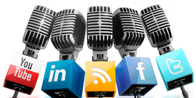 5 vintage podcast microphones with social media logos: YouTube, LinkedIn, WIFi, facebook, Twitter.