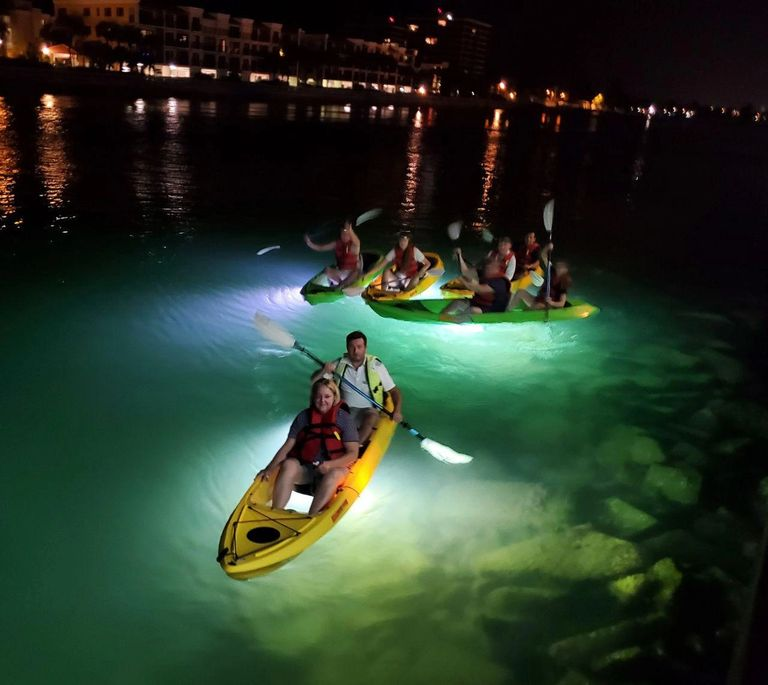 multiple kayakers on the waters of sarasota at night, www.glassbottomtours.com