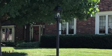 We refinished the entire Lamp Post and Post Light