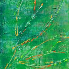 3 leaves tactile green highlighted with trace amounts of yellow and orange green brushed background