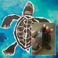 image of a brown turtle outlined in white painted over a background of soft blue and teals.