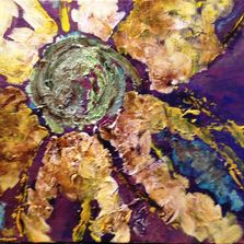 an image of a worn and tattered yellow flower-like bloom with purple metal background green center