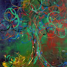 abstract tree with green red blue yellow circles word God in upper left red thinking man lower right