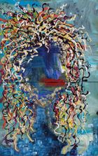 abstract image of a person variety of squiggly paint creating the hair, no eyes blue face red lips