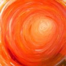 bright orange paint with hints of yellow and red circular in motion arrive at center becoming white