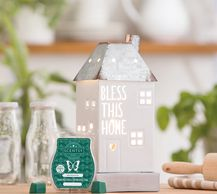 "Aloe Vera & Ivy scented wax and Bless this Home warmer 10"" tall/24 cm tall, use with wax or oil"