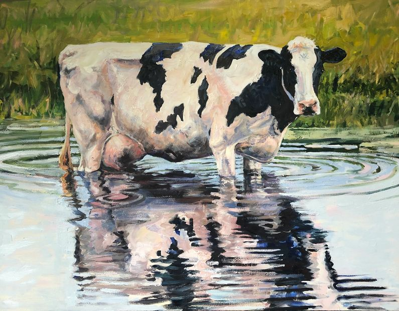 I've always loved to paint cows! This time I've included a rippled reflection.