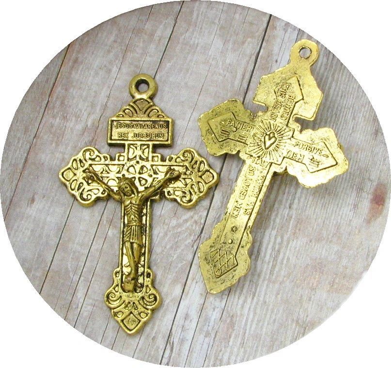 Antique Gold Pardon Crucifix for necklace or attach to your rosary