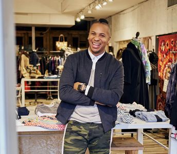 Rashad Webb in a boutique in Noilta, NYC.