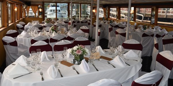 One of many table settings available on the Festiva Cruises.