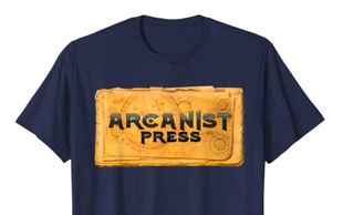 T shirt with the Arcanist Press logo