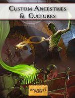 Cover image for Custom Ancestries & Cultures, with a tattooed spell caster fighting skeletons