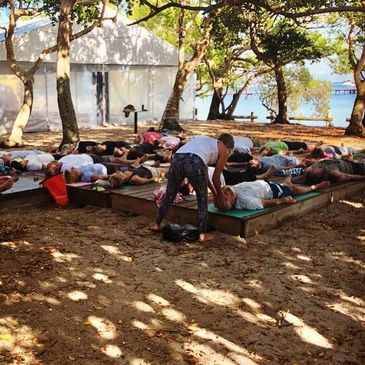 Yoga Class New Caledonia with Down Under Rally participants