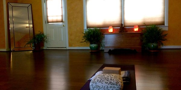 The yoga studio at East View Farm Vermont.