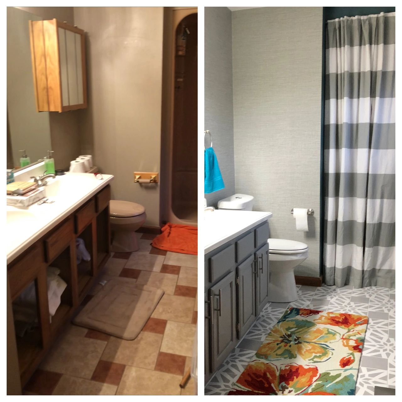 Before and After - The brown bathroom pic was from the week we moved in