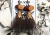 Bear fur earrings with copper and wood accents