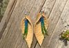 Cork elk leather leaf earrings with green and blue beading