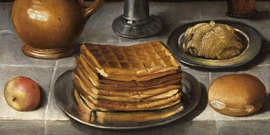 historic painting of waffles