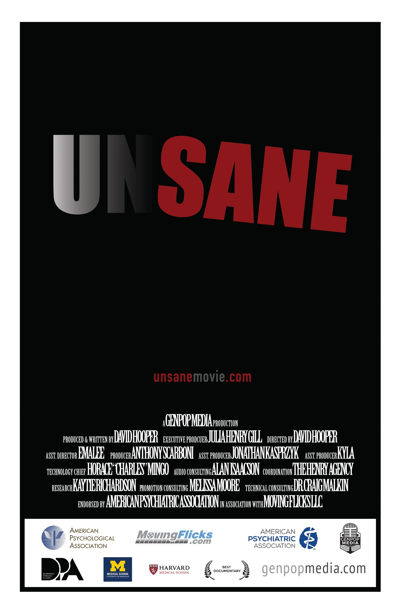 Movie DVD Cover with credits listed for UNSANE, the movie due out in February 2021.
