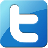 Twitter square logo blue reflection.  Links to Genpop Media's Twitter account.