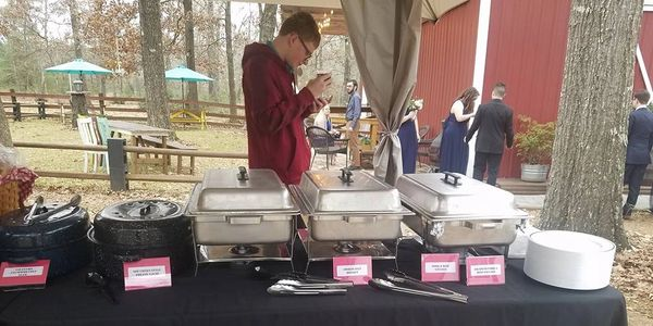 BBQ buffet table at Miller Creek Rustic Events