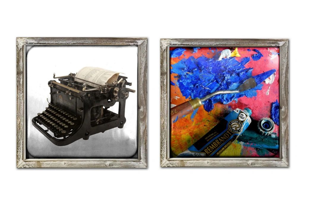 FRAMED METAL ART TYPEWRITER PAINTS OIL