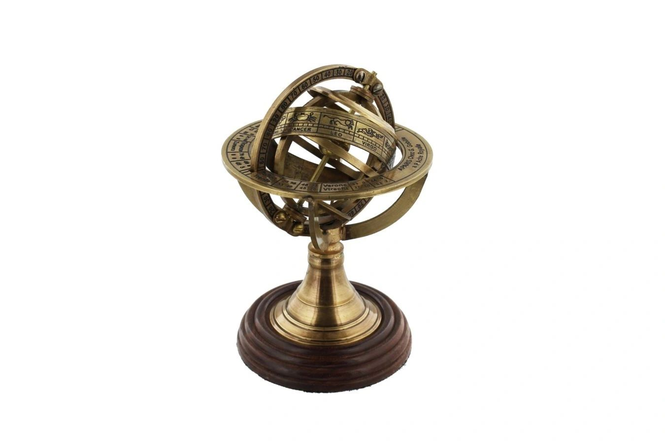 BRASS ARMILLARY SPHERE ON WOODEN STAND