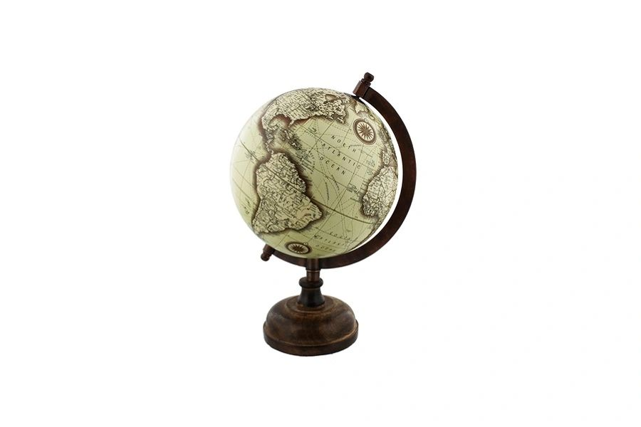 GLOBE WITH METAL & WOODEN BASE 27CM