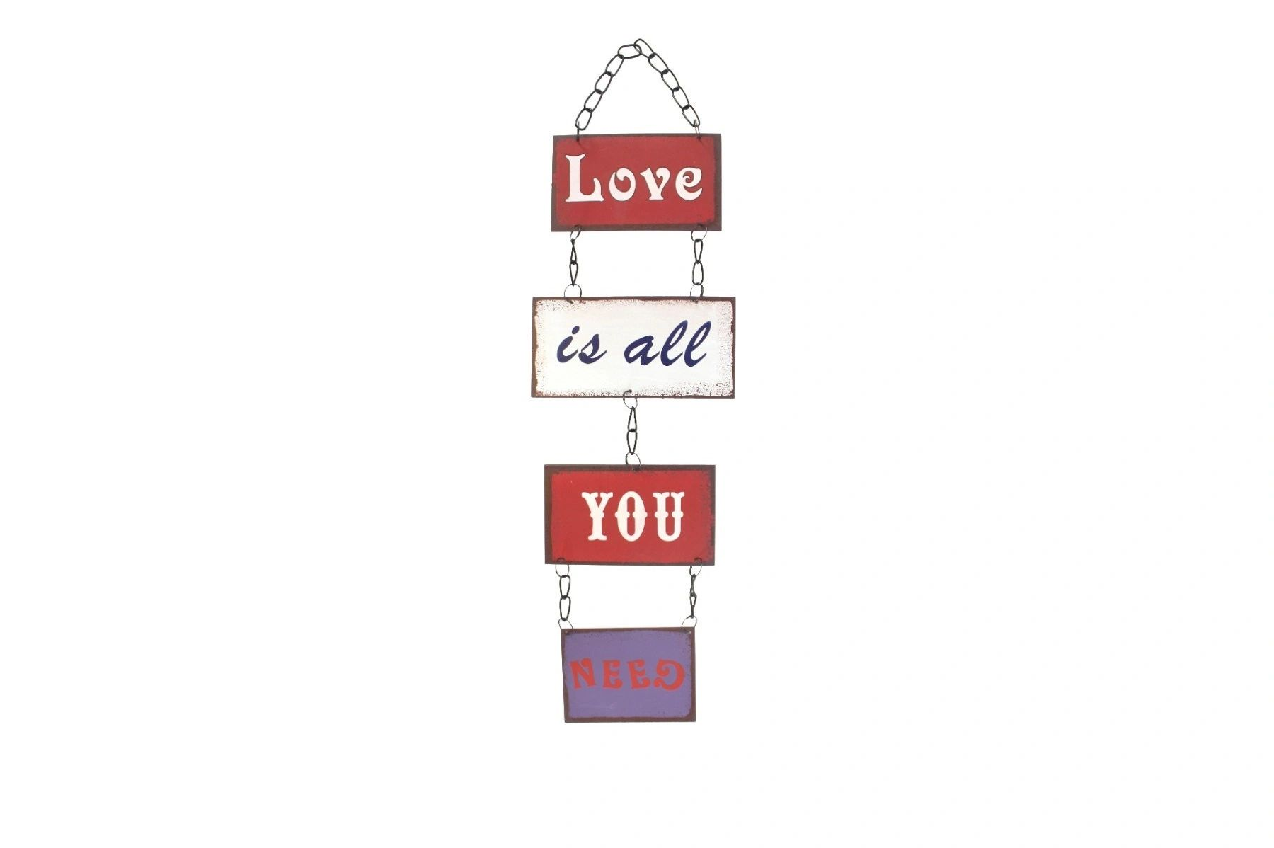 LOVE IS ALL YOU NEED Retro style metal signs with chain