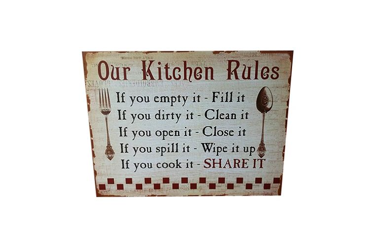 our kitchen rules retro vintage metal sign