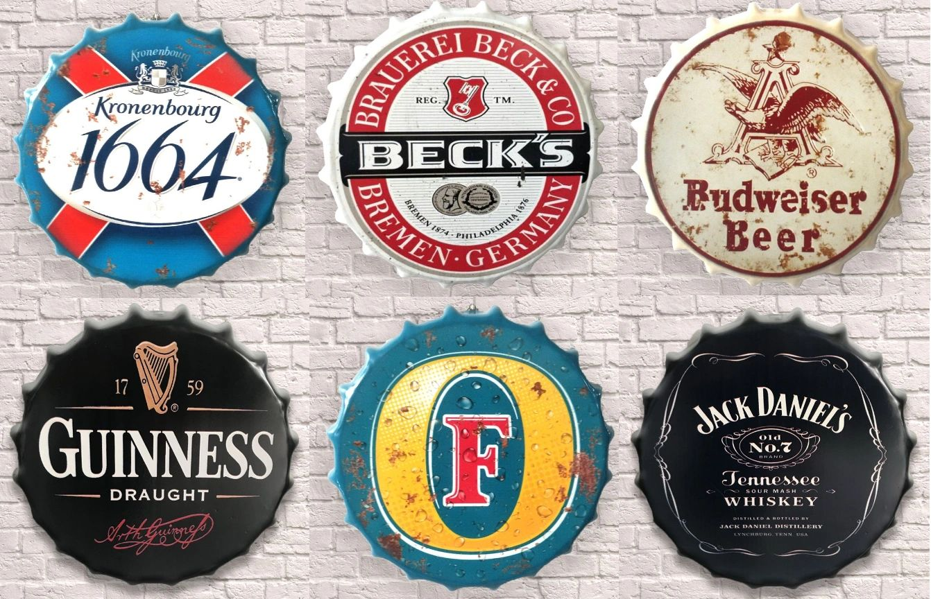1664 BECKS BUDWEISER GUINNESS FOSTERS JACK DANIELS ALCOHOL BOTTLE TOP HUGE