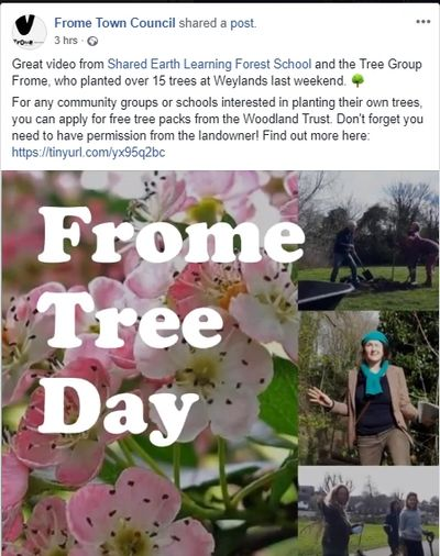 Screenshot from Facebook about Frome Tree Day