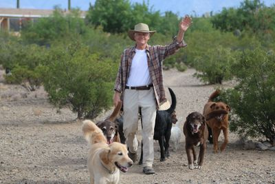 Thom out in our hiking area with some of our boarding dogs!