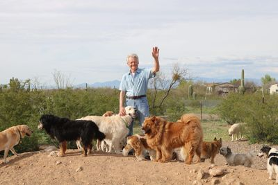 Thom and some of our Tucson dog boarding friends on one of our daily hikes!
