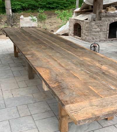 A monster of a Harvest table... This beautiful table is 4' x 18' and made from reclaimed barn boards