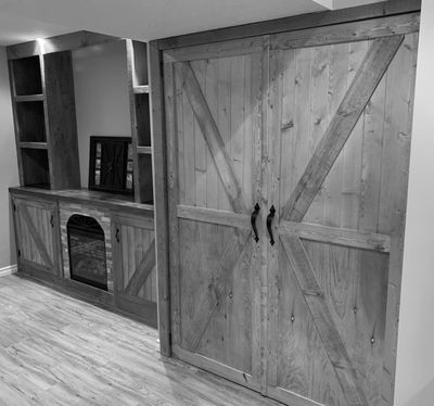 Custom built built in wall unit and doors.