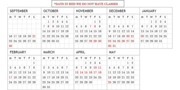 Our regular sewing classes run September 17 - May 30.  We do not have classes on holidays (in red).