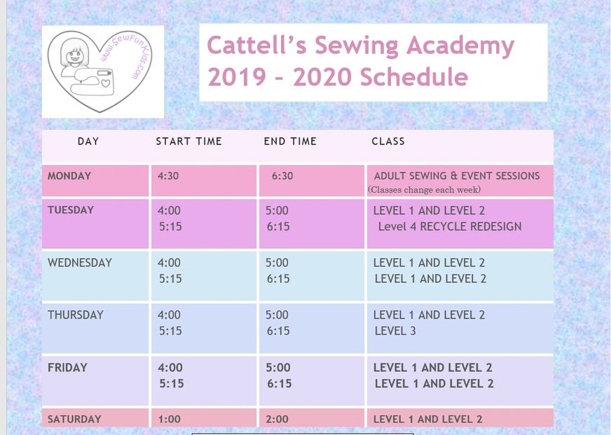 Here is or schedule for September 2019 - May 2020.  Monday classes will change each week.
